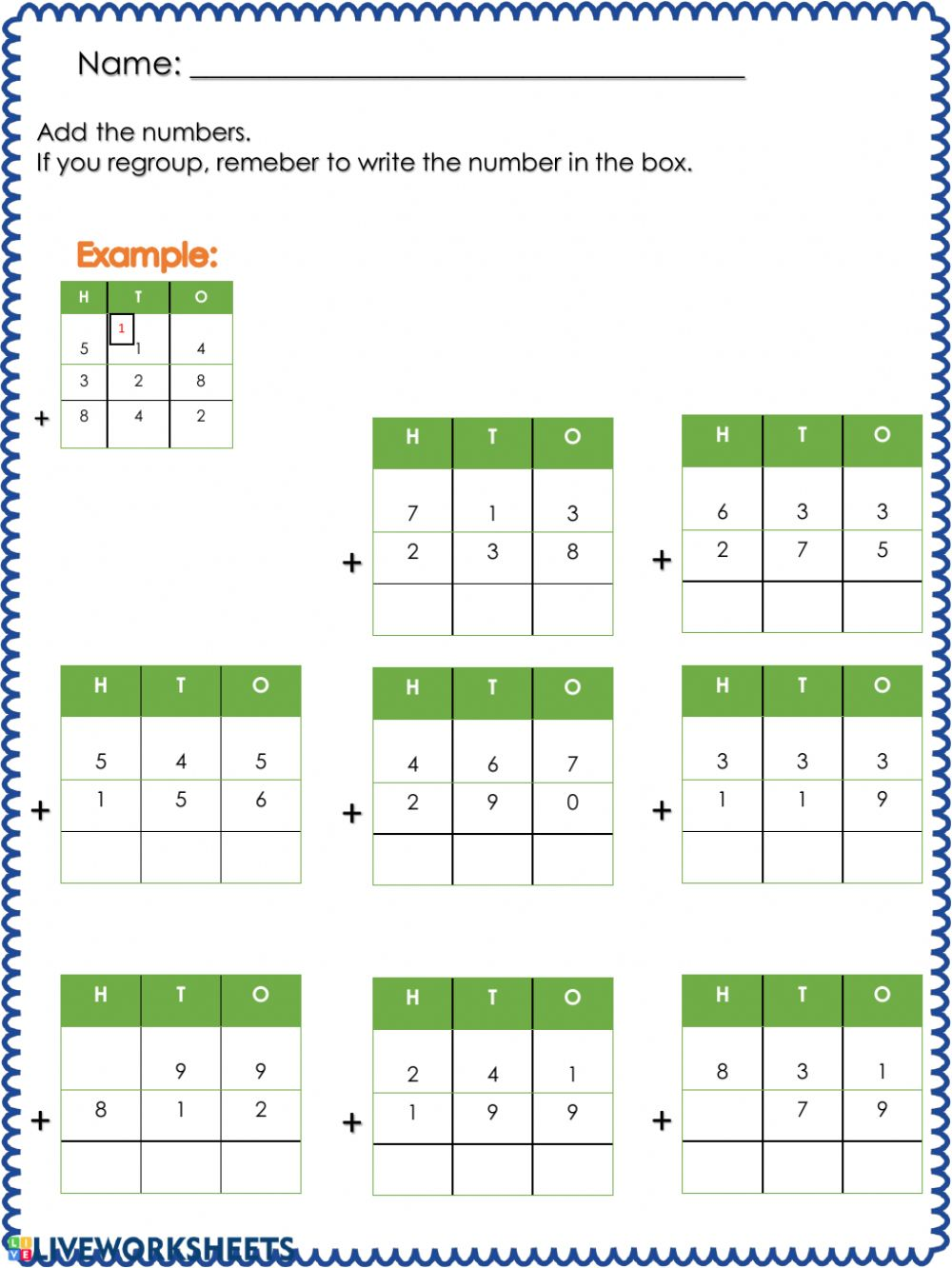 hight resolution of Addition with regrouping worksheet