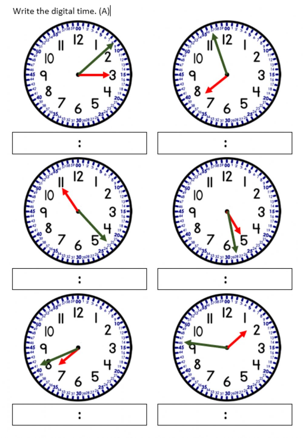 hight resolution of Telling time to nearest minute. worksheet
