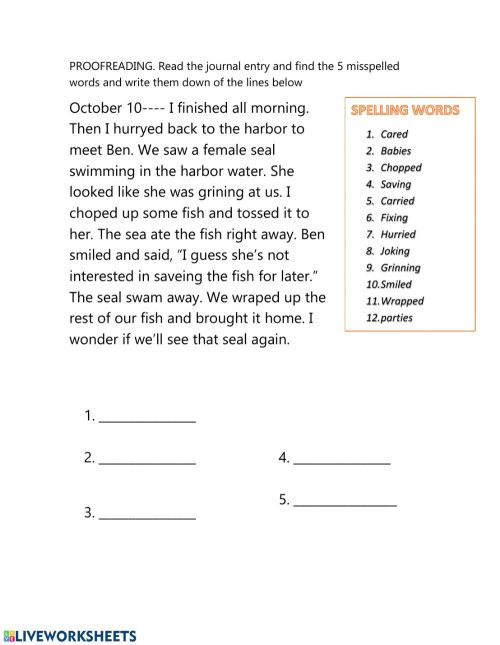 small resolution of Proofreading worksheet