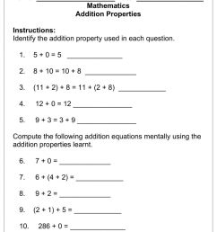 Addition Properties worksheet [ 1291 x 1000 Pixel ]