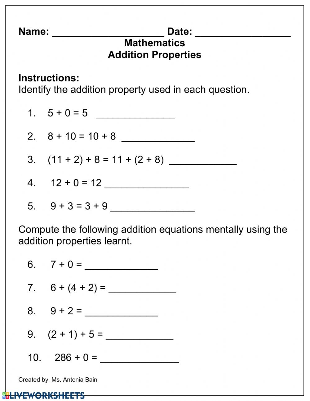 hight resolution of Addition Properties worksheet