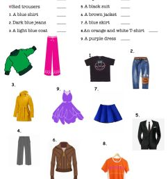Clothes and colors worksheet [ 1413 x 1000 Pixel ]