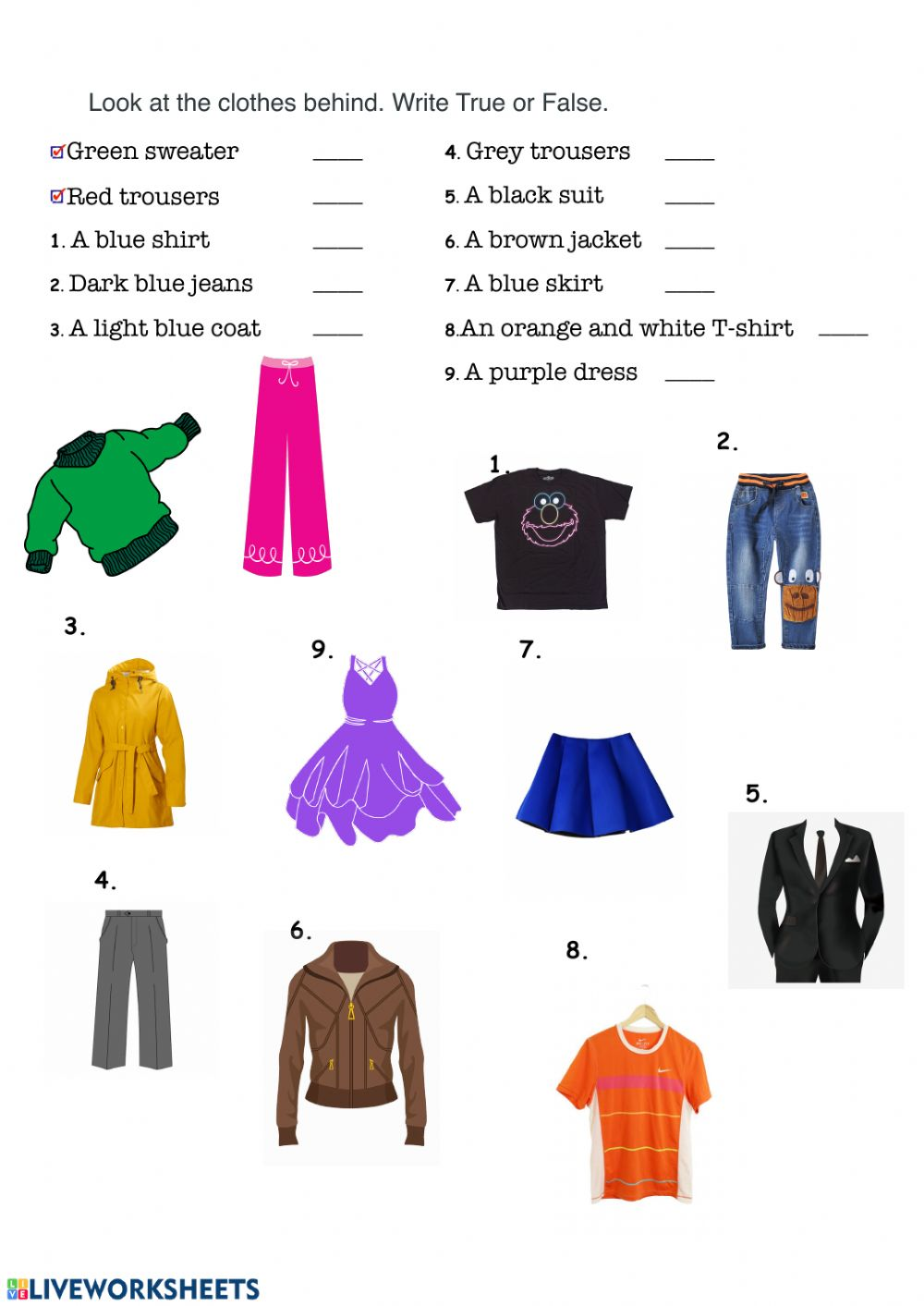hight resolution of Clothes and colors worksheet