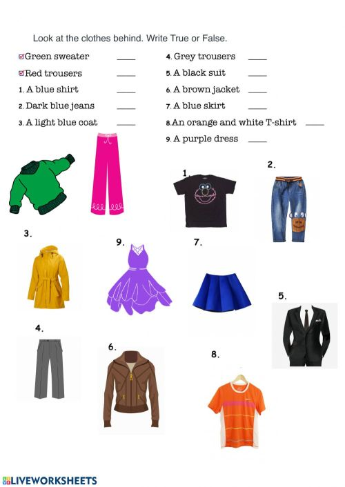 small resolution of Clothes and colors worksheet