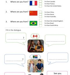 Where are you from? worksheet for grade 5 [ 1443 x 1000 Pixel ]
