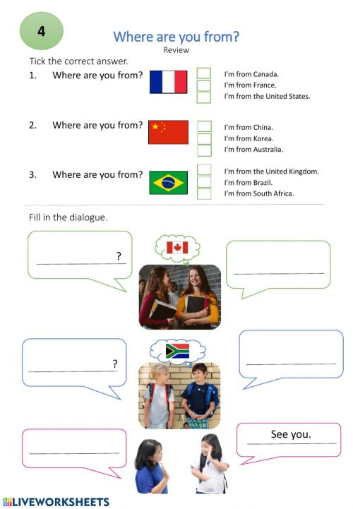 small resolution of Where are you from? worksheet for grade 5
