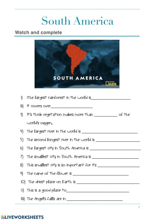 small resolution of South america worksheet