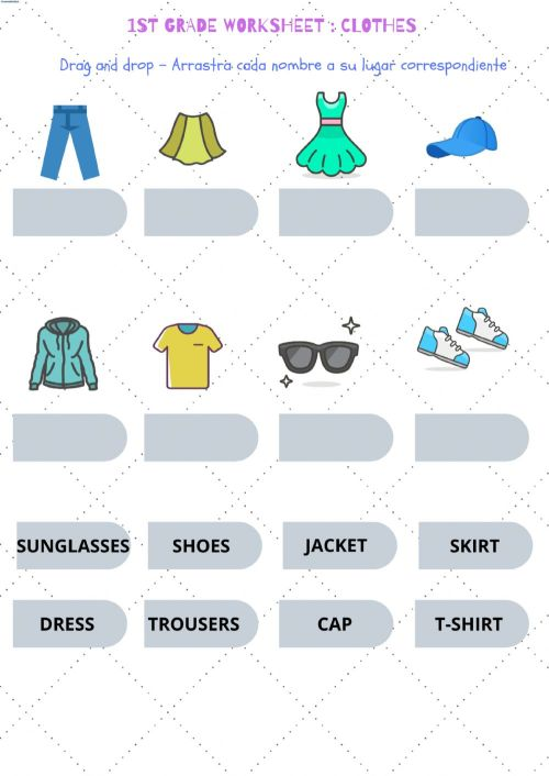 small resolution of Drag and drop 1st grade-clothes worksheet