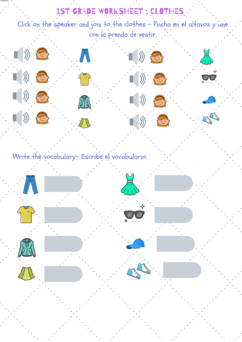 hight resolution of Clothes- 1st grade worksheet