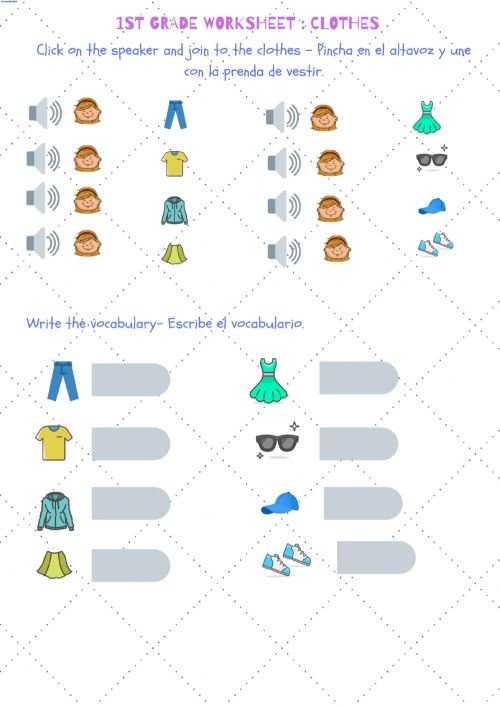 small resolution of Clothes- 1st grade worksheet