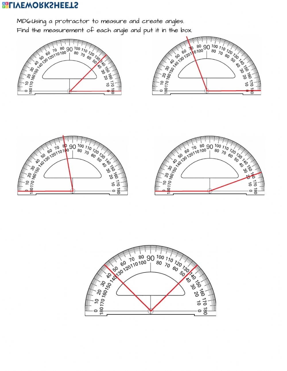 medium resolution of 4.MD.6 Measuring angles with a protractor worksheet