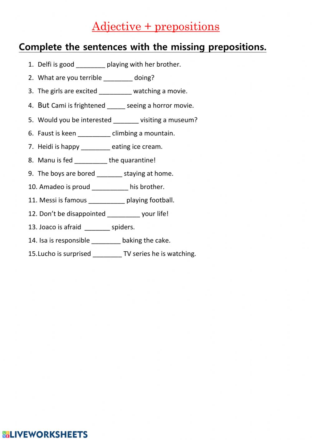 hight resolution of Adjectives with prepositions worksheet
