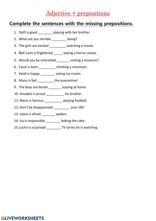 small resolution of Adjectives with prepositions worksheet
