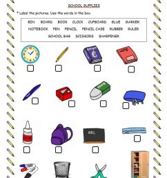 School supplies worksheet for Grade 4 [ 1417 x 1000 Pixel ]