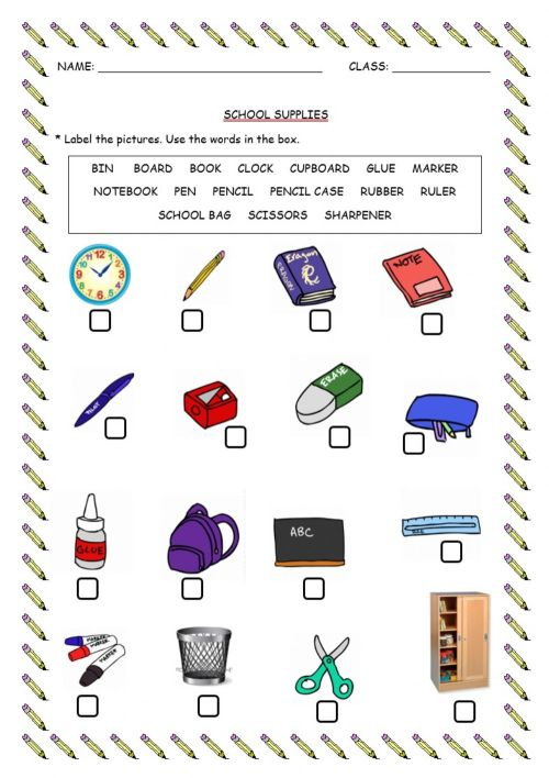small resolution of School supplies worksheet for Grade 4