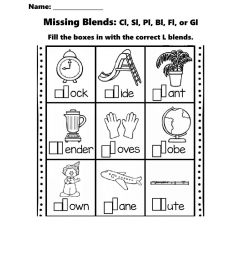 Missing L Blends worksheet [ 1291 x 1000 Pixel ]