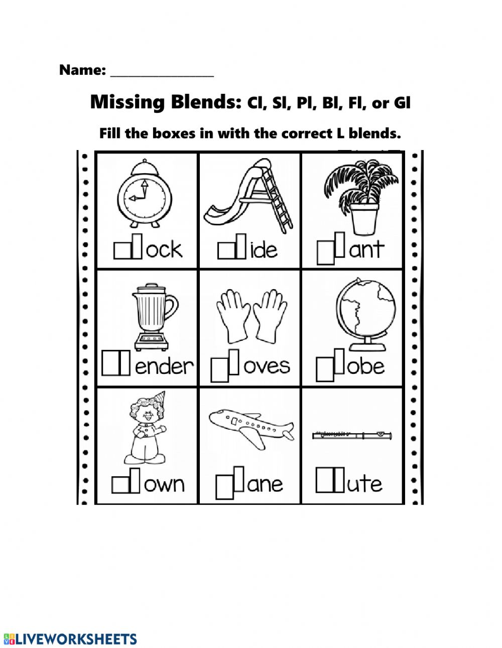 hight resolution of Missing L Blends worksheet