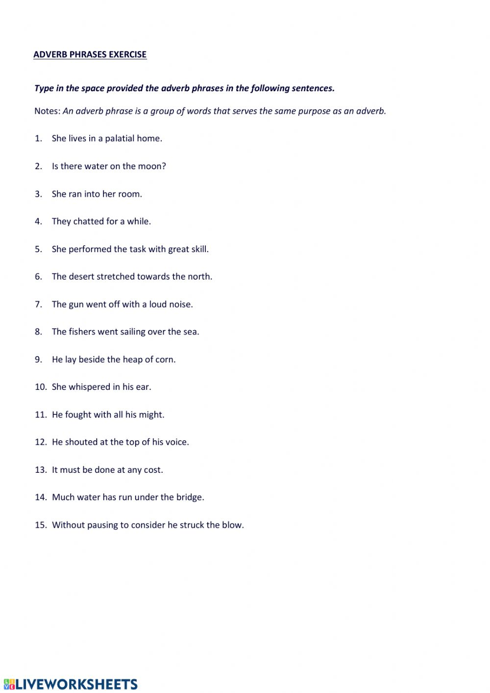 medium resolution of Adverb phrases worksheet