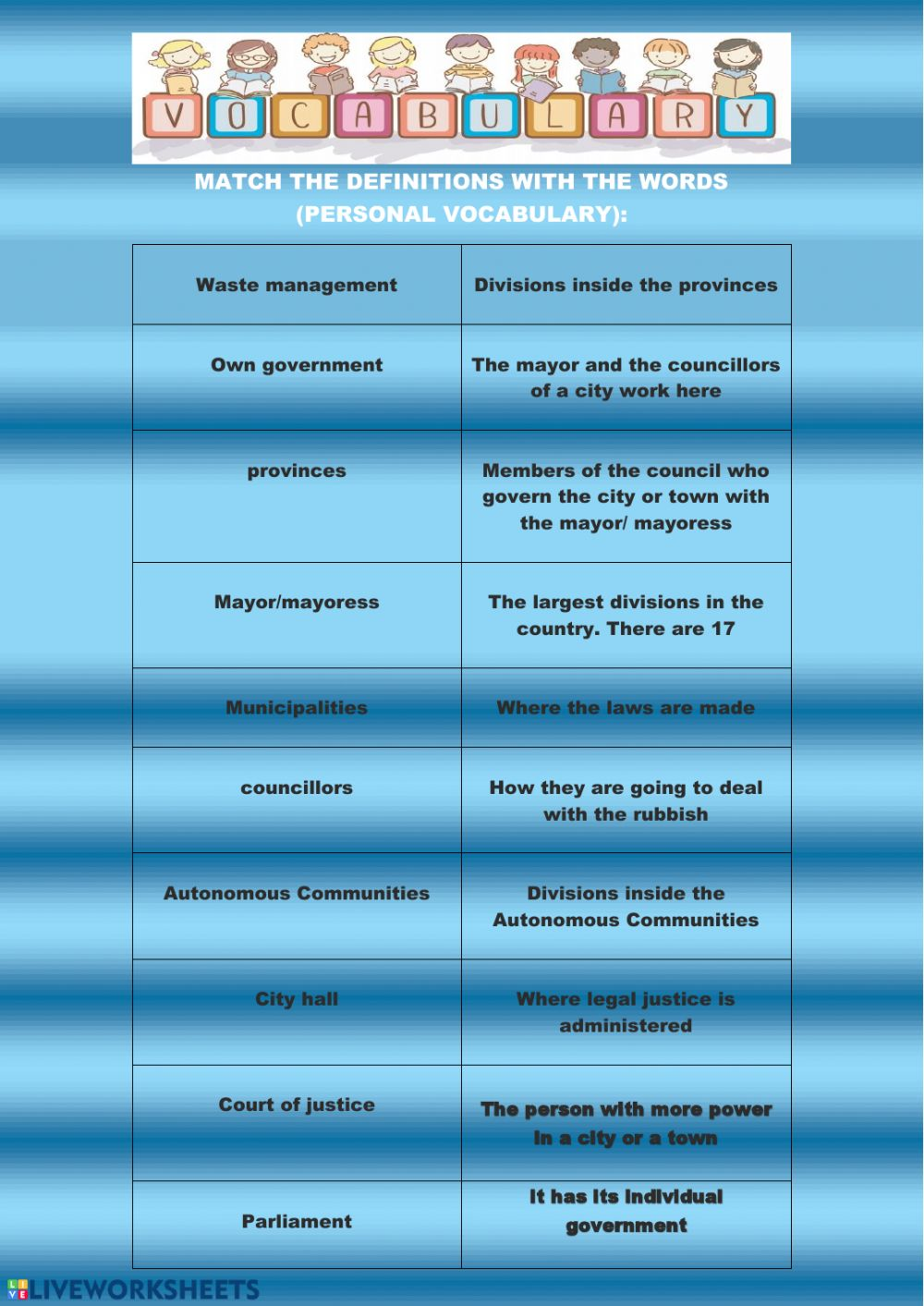 hight resolution of Vocabulary social 6th primary worksheet