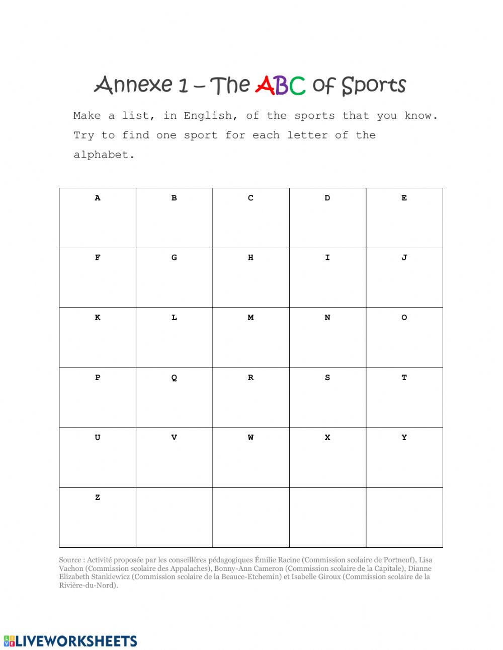 medium resolution of Grade 3 ABC of Sports worksheet