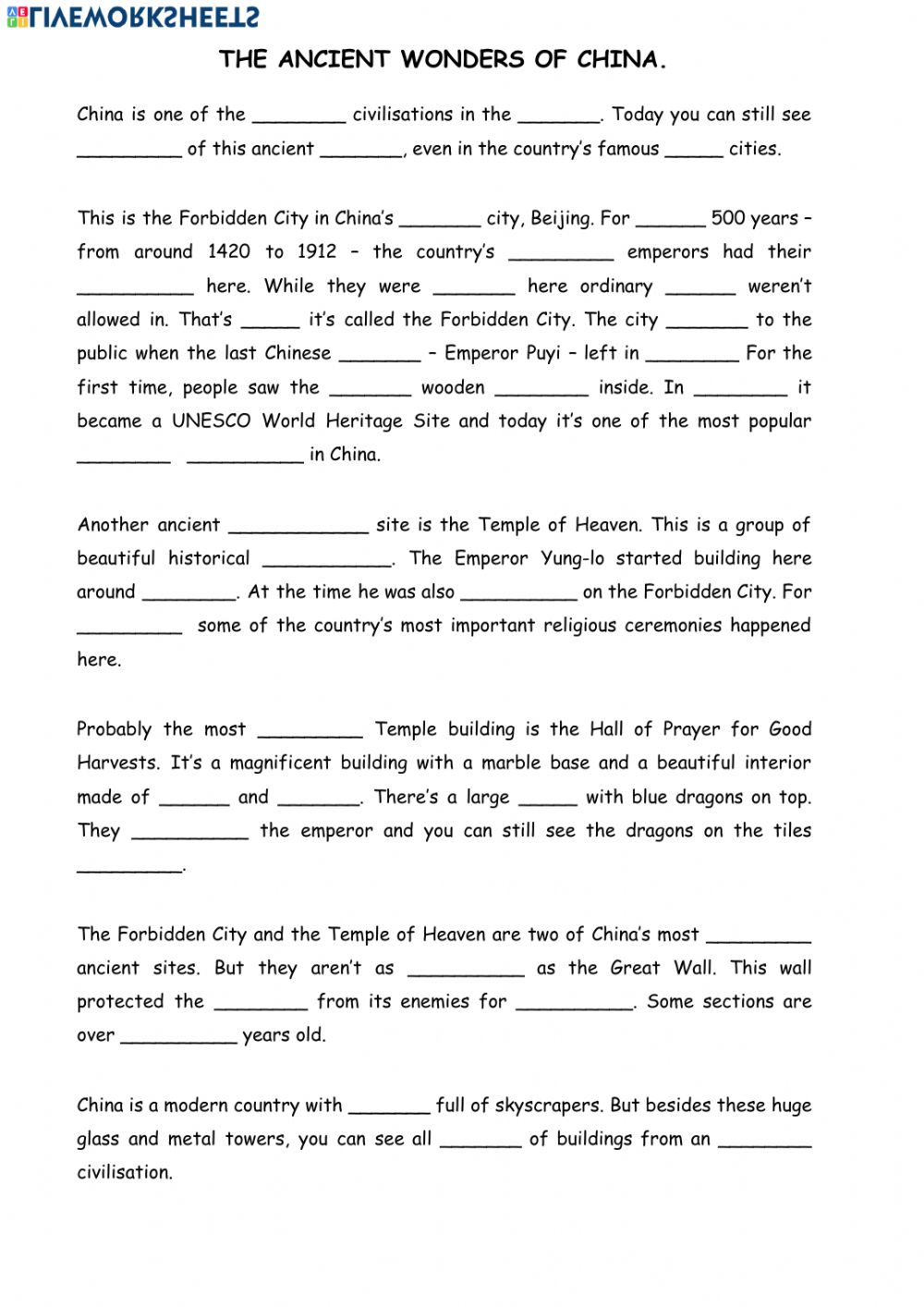 medium resolution of The ancient wonders of China worksheet