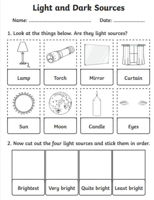 small resolution of Light sources worksheet