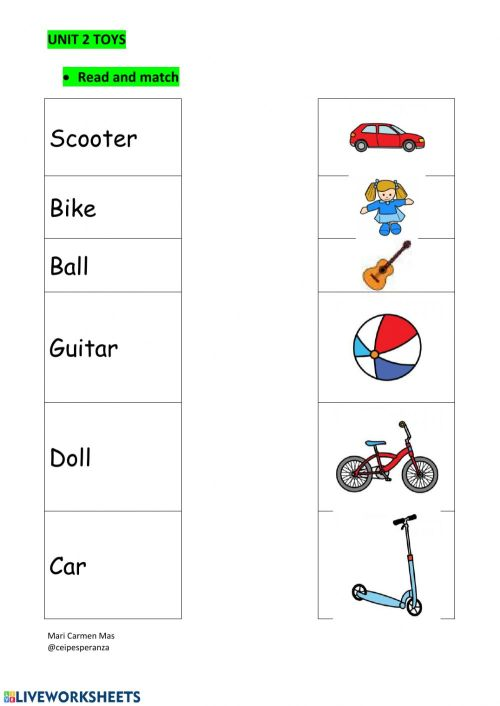 small resolution of Toys interactive worksheet for 1st grade