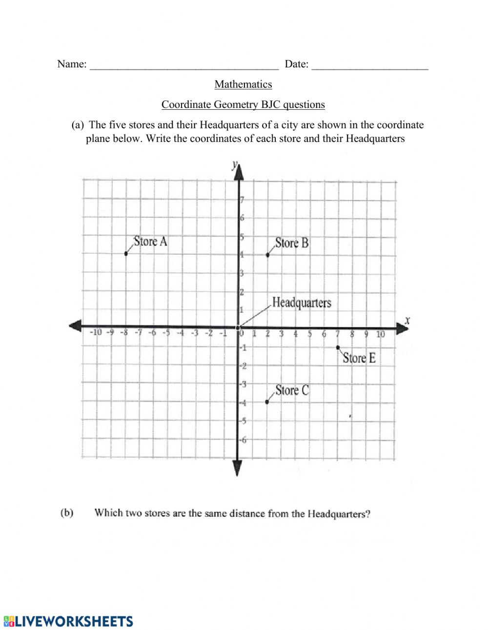hight resolution of Coordinate Geometry interactive worksheet