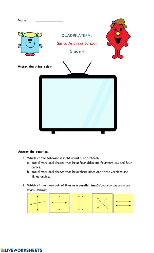 small resolution of Quadrilateral worksheet