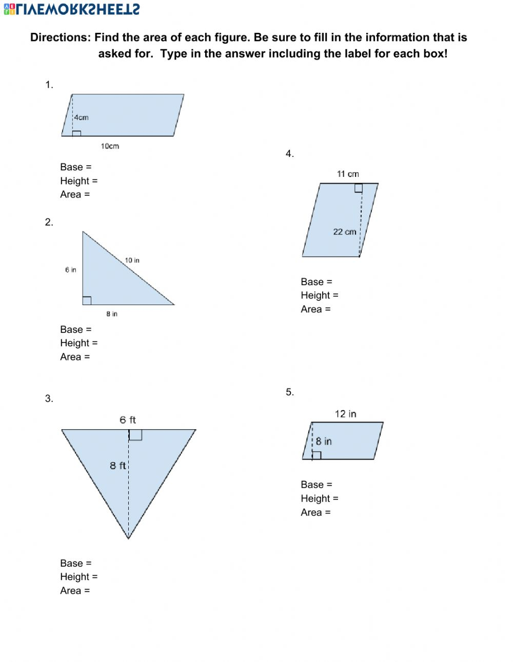 hight resolution of Area of Parallelograms and Triangles worksheet