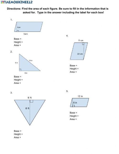 small resolution of Area of Parallelograms and Triangles worksheet