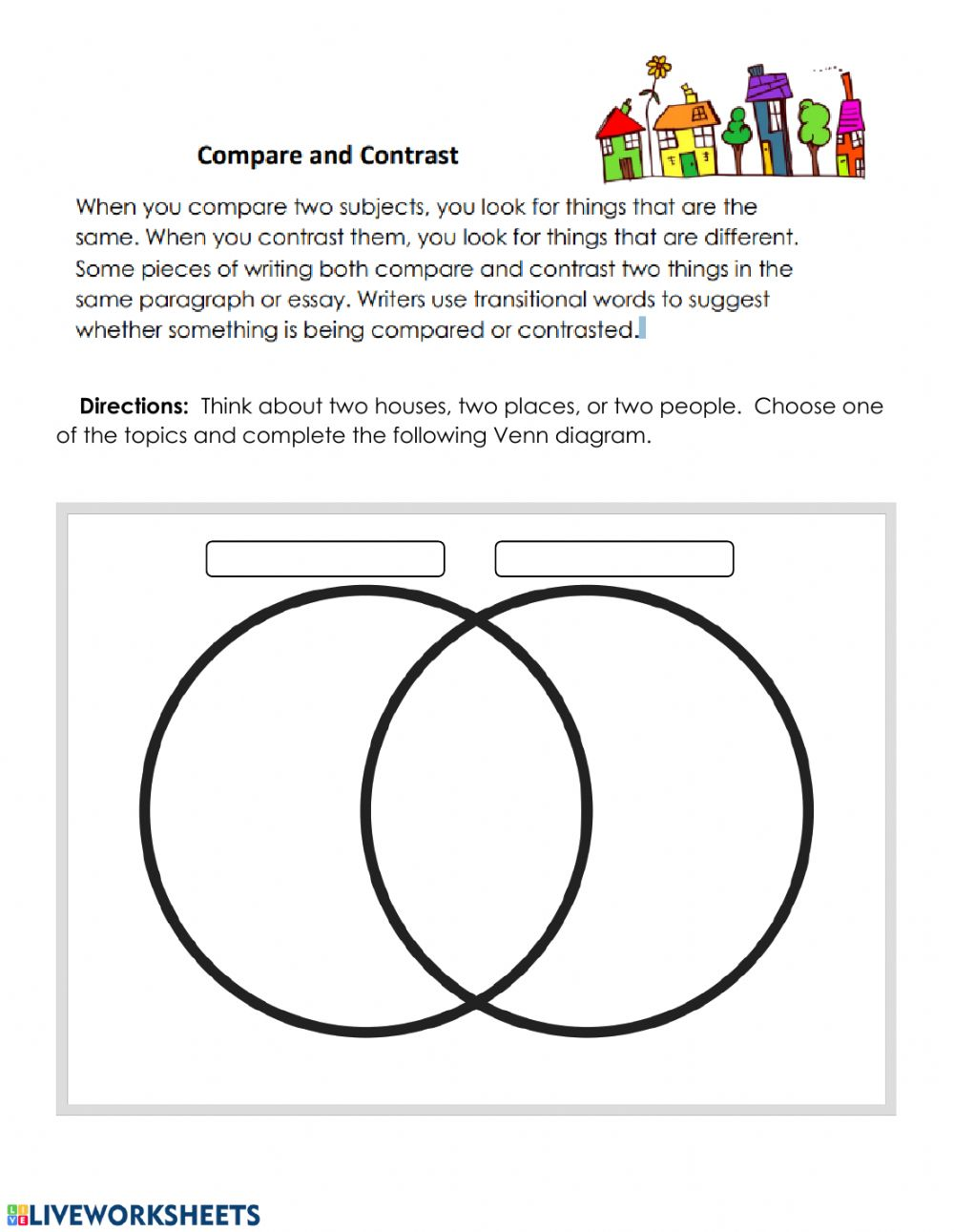 hight resolution of Compare contrast practice worksheet