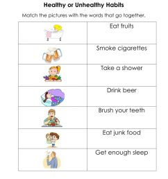 Healthy and Unhealthy Habits worksheet [ 1291 x 1000 Pixel ]
