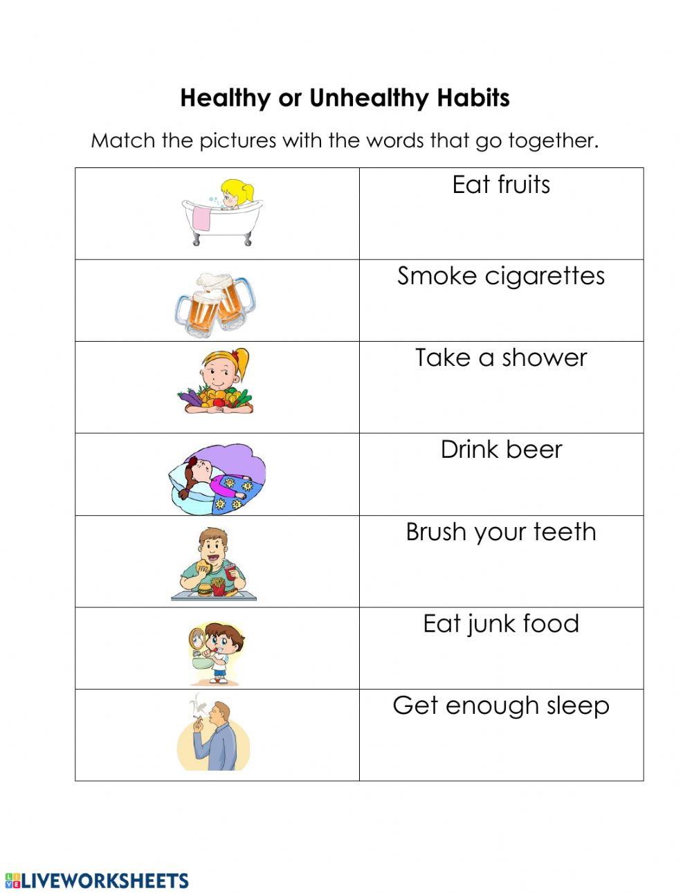 hight resolution of Healthy and Unhealthy Habits worksheet
