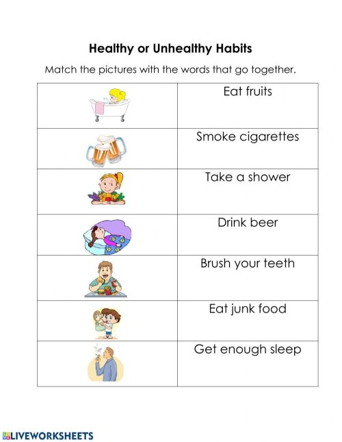 small resolution of Healthy and Unhealthy Habits worksheet