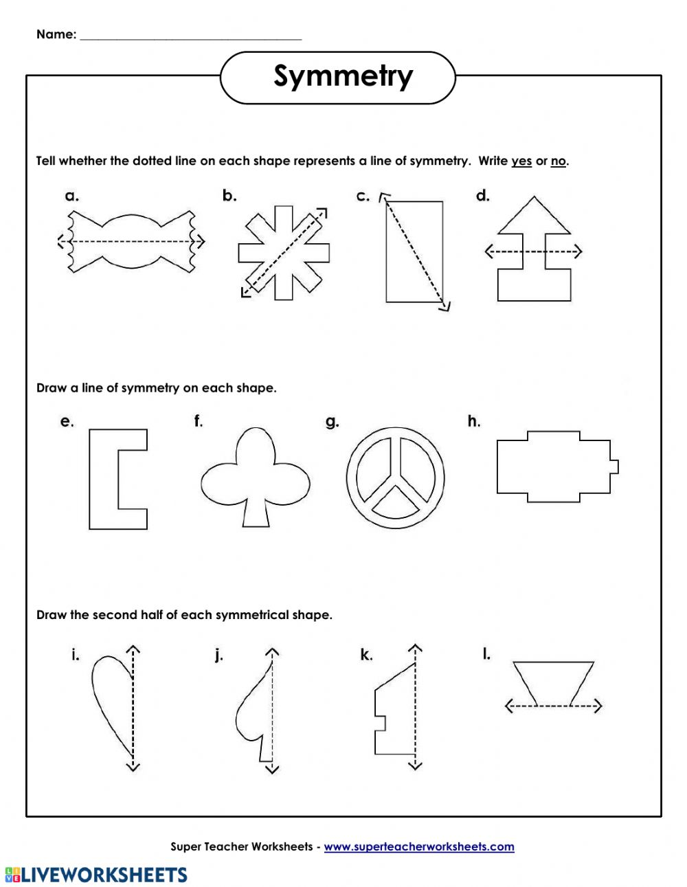 hight resolution of Line of symmetry worksheet