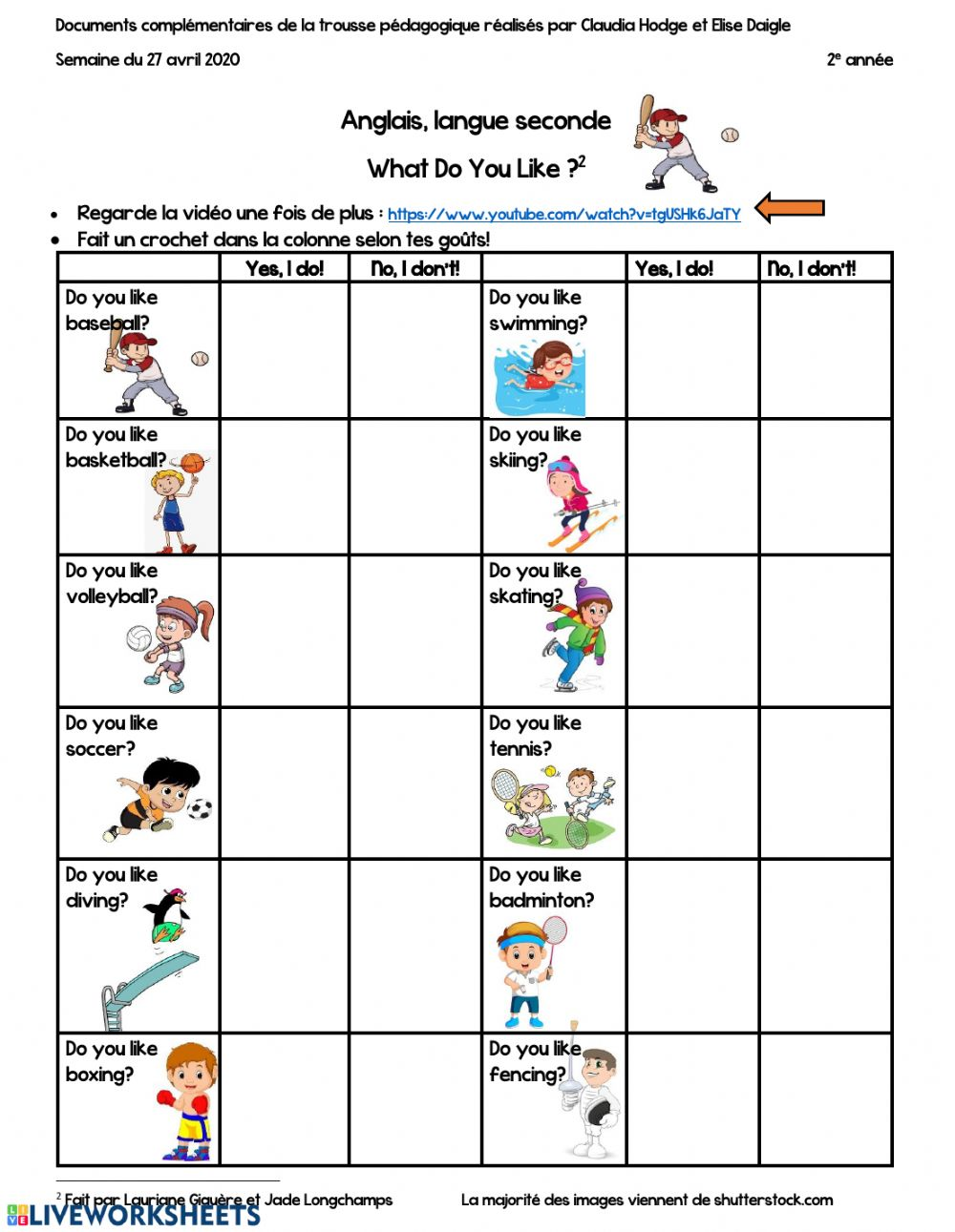 hight resolution of Grade 2 Do You Like Sports worksheet
