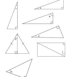 Label sides in right angle triangles worksheet [ 1413 x 1000 Pixel ]