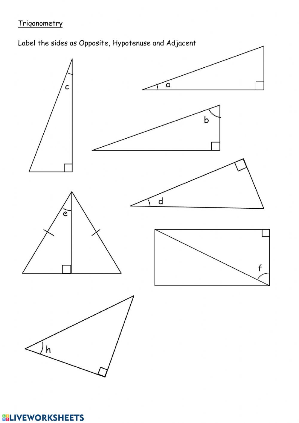 hight resolution of Label sides in right angle triangles worksheet