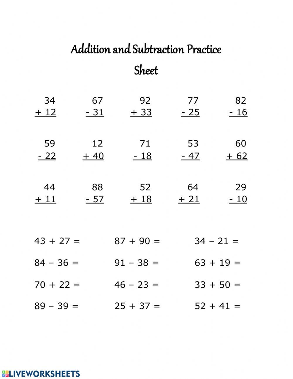 medium resolution of Addition and Subtraction Practice Sheet worksheet