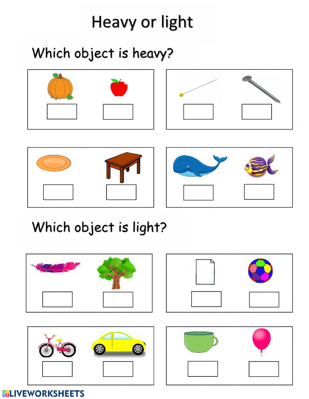 hight resolution of Heavy and light worksheet