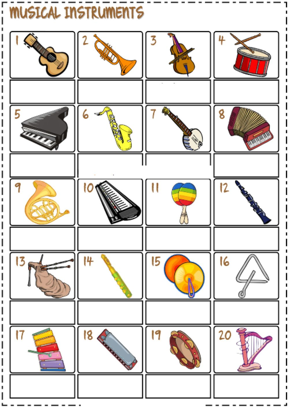 medium resolution of Musical instruments interactive exercise for 3rd grade