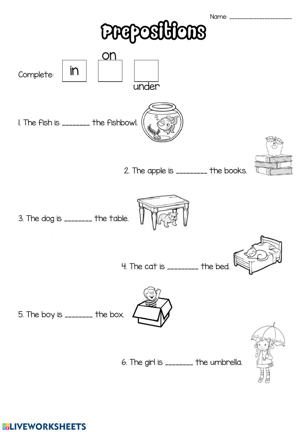 medium resolution of Prepositions activity for 1st grade