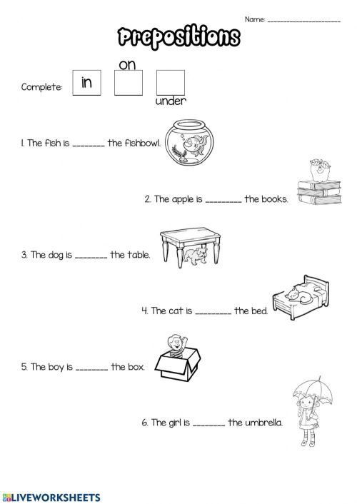 small resolution of Prepositions activity for 1st grade