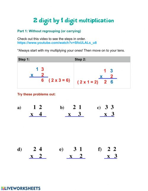 small resolution of 2 by 1 digit multiplication worksheet