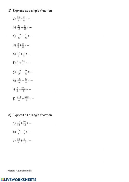 small resolution of Working with algebraic fractions worksheet