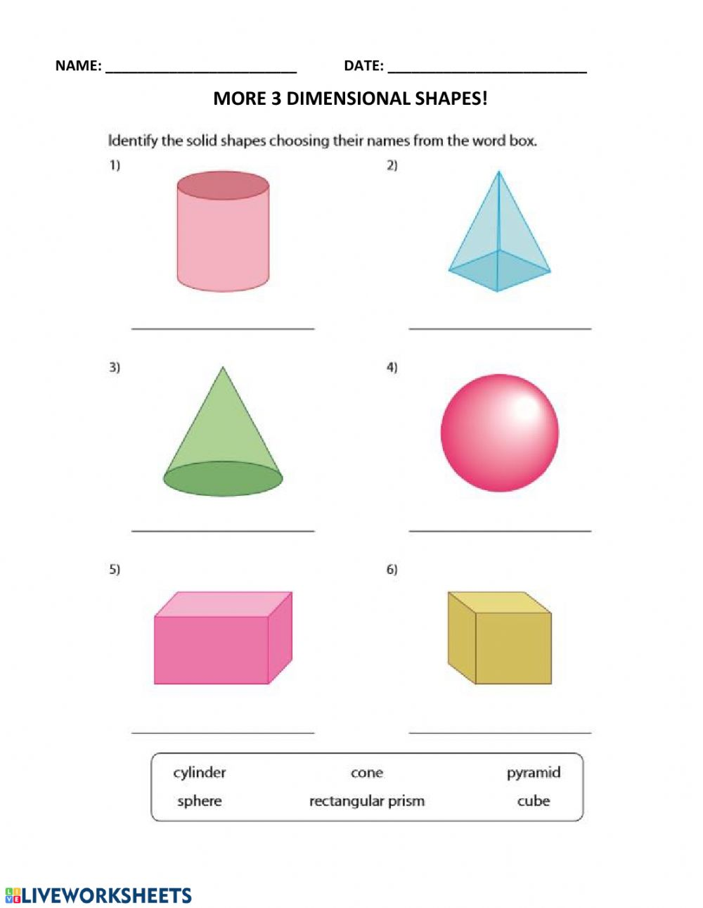 medium resolution of More 3D Shapes! worksheet