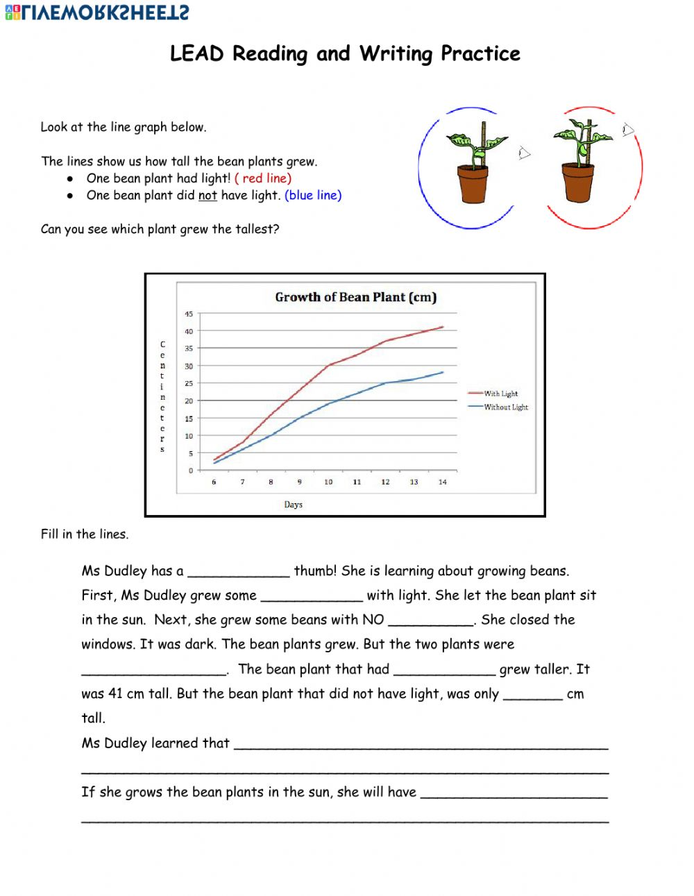 hight resolution of Bean Plant Line Graph worksheet