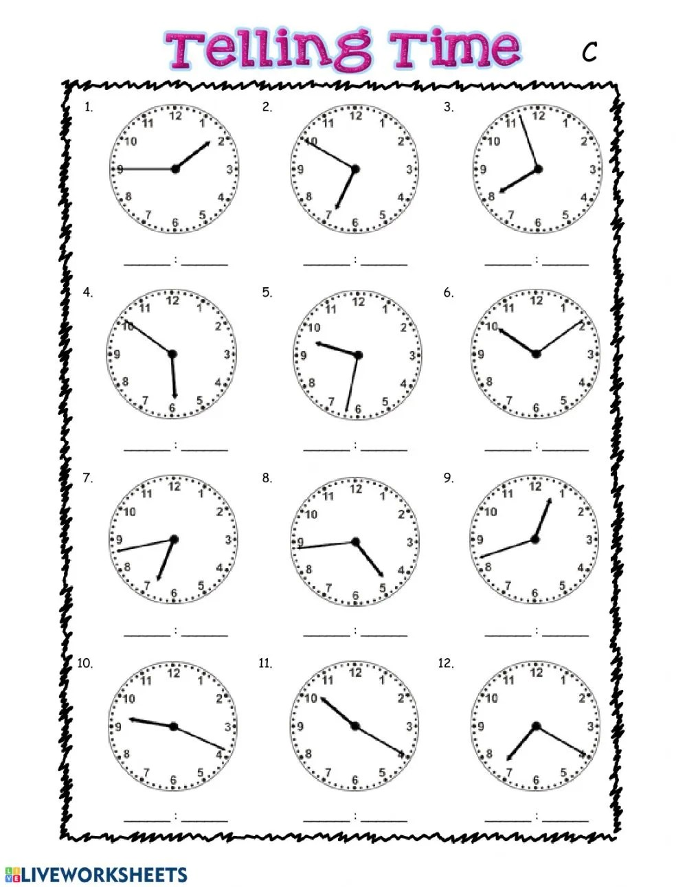 hight resolution of Telling Time interactive worksheet for grade 3