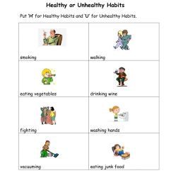 Healthy and Unhealthy Habits interactive worksheet [ 1291 x 1000 Pixel ]